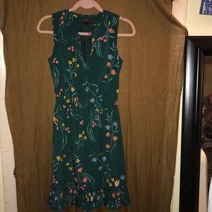 Ann Taylor Green Floral Dress w/Ruffle Sz. XS